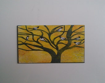 magpies in a tree fridge magnet