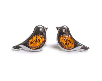 Henryka Amber & Silver Small Bird Stud Earrings