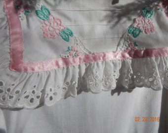 Classic Girls White Cotton Dress With Dropped Waist and  Bib Collar Size 8