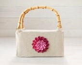 Beige Purse with Pink Dahlia Felt Flower and Bamboo Handles