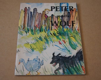 Vintage 1968 - Peter and the wolf - Robert Sargent retelling - book - Childrens kids book - picture book