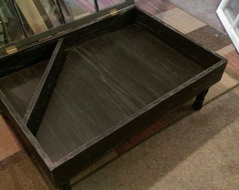 rustic coffee table - shadow box coffee table - reclaimed windows - window coffee table - distressed coffee table - military display case