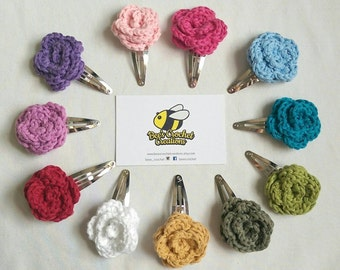 Cotton Rose Crochet Hair Clips Snap Clip Cotton Flower pack of 2