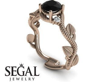 Unique Engagement Ring Rose Gold Black Diamond Ring Leaf Ring Art Deco Ring Antique Ring Black Diamond Unique Engagement Ring - Allison