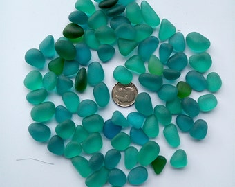 20 pieces beach sea glass lot bulk wholesale teal green-blue 12-18mm jewelry use