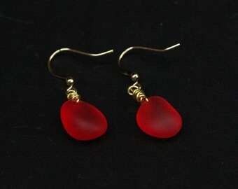Handmade RedRuby-like Beach Sea Glass Earrings with Gold Plated Hook