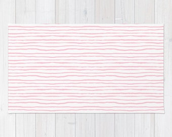 Pink Stripe Area Rug 2x3 Rug Light Pink And White Stripes Living Room 3x5  Rug 4x6