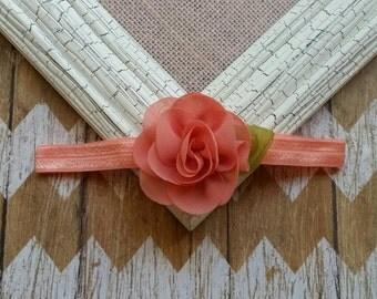 Coral flower headband,  Coral headband, flower with leaf headband,  Elastic headbands,  flower headband, baby headband
