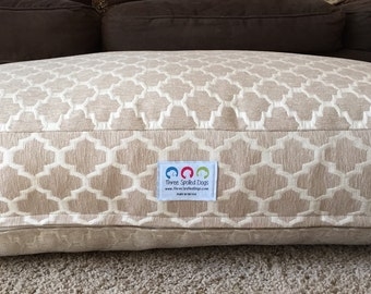 Big Dog Bed || Extra Large Neutral Geometric Designer Fabric || Add Pets Name || Custom Pillow Tan || Puppy Gift by Three Spoiled  Dogs