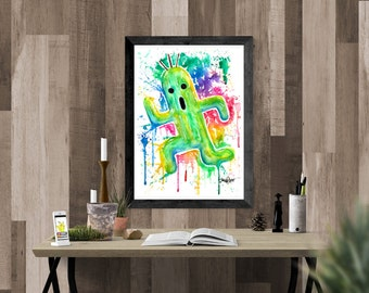 ORIGINAL - Cactuar running - Watercolor Painting (PRINT) Final Fantasy by Jonny2may A4