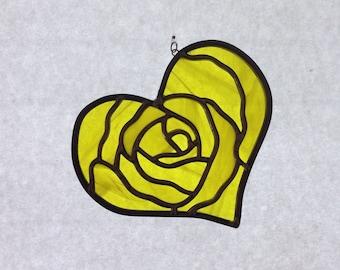Stained Glass Yellow Heart Suncatcher