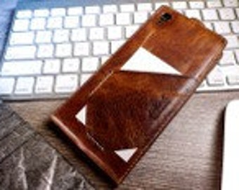 ONE  Handmade Real Leather Case Cover Wallet Card Brown For iphone 5 SE /5