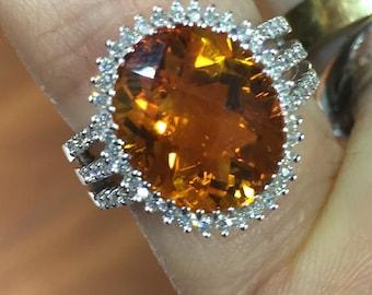 Citrine Topaz Ring - Diamonds 18K Gold