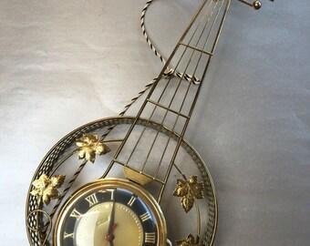 "22"" United Mandolin Banjo Brass MCM Vintage Wall Clock"