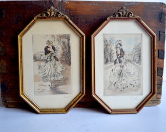 Vintage Antique Victorian Fashion Sketches Set of Two