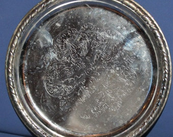 Vintage Floral Silver Plated Platter Tray