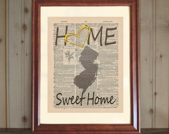 Home Dictionary Print, New Jersey State Print, Home Sweet Home New Jersey, Home Art, Home Decor, Housewarming Gift, Home Quote Canvas Panel