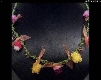Vintage unique necklase handcraft jewelry organze Ribbon