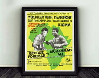 Muhammad Ali Vs George Foreman Rumble in the Jungle Print 11x13