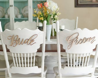 Bride and Groom Laser Cut Chair Signs