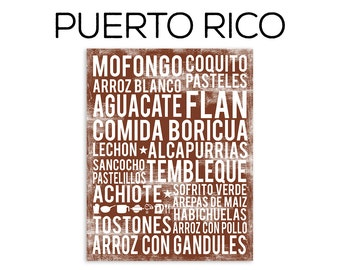 Puerto Rico Food Subway Art Print - Puerto Rico Food Poster - Various Sizes & Colors