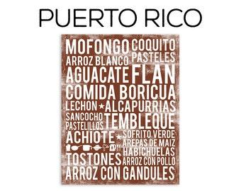 Puerto Rico Food Subway Art Print - Puerto Rico Food Poster - Various Sizes & Colors