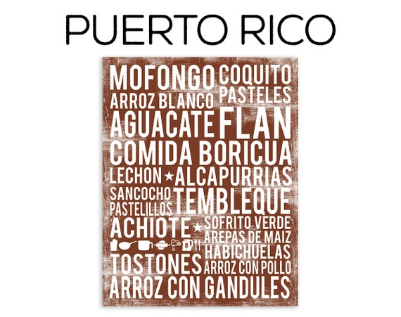 Puerto Rico Food Poster - Food Word Art - Various Sizes & Colors