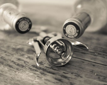 Bar Decor Wine Wall Print, Wine Art Sepia Photography, Decor for Kitchen, Dining Room Decor, Corkscrew and wine bottles