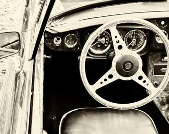 MGB Classic Car Art, Steering Wheel Interior Photograph, Vintage Car Dashboard Picture, Automobile Art, Car Photo 5x7 8x10 11x14 16x20 20x24