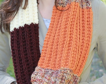 READY TO SHIP Hand Knit Autumn Shades Color Block Loop Scarf