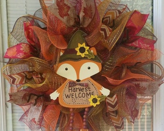 Fall Wreath, Welcome Wreath, Autumn Wreath, Rustic Wreath, Country Wreath, Deco Mesh Wreath, Ribbon Wreath