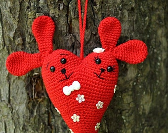 Red crochet pendant rabbits heart. Double hares in love heart shape. FREE SHIPPING.