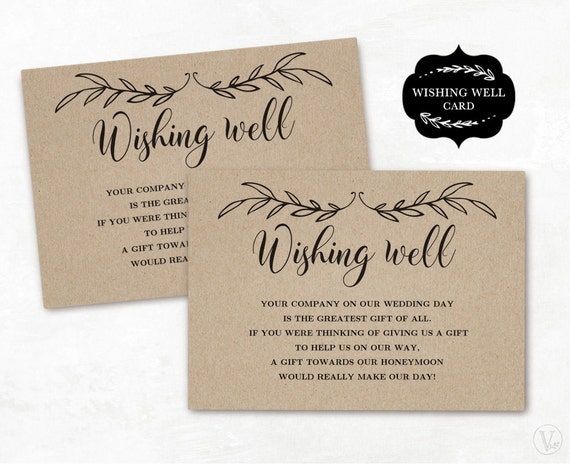 Wedding Invitation Wording Money Instead Of Gifts: Wishing Well Card Template Printable Wishing Well Card DIY