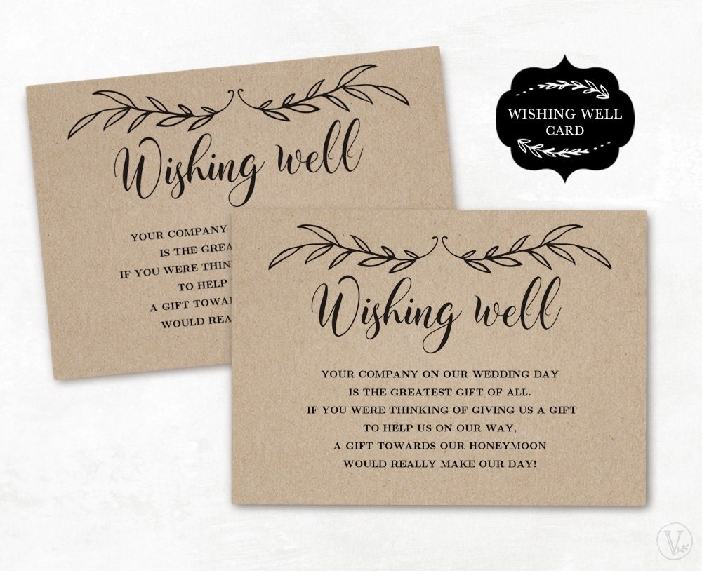 Wishing Well Card Template Printable Wishing Well Card DIY