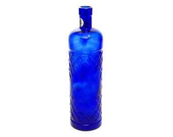 Vintage Blue Glass Wine Bottle with Diamond Lattice Pattern. Hand Made Mold-Blown Recycled Glass.