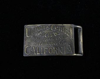 Vintage Men's belt buckle - Central Union Pacific Rail-Road Line - Omaha to California - Vintage Men's Fashion - Vintage Men's Accessories