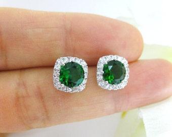Emerald Green Stud Earrings Square Cubic Zirconia Earrings Bridesmaids Gift Wedding Jewelry Green Earrings Christmas Earrings (E129)