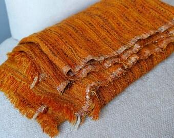 Handwoven vintage orange w purple and yellow heavy fabric yardage
