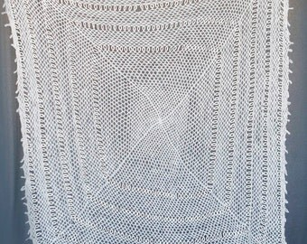 Soft throw blanket or shawl handmade, handwoven white/off white yarn with circle pattern