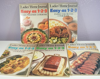 Ladies Home Journal Cookbook LOT of 5 Cookbooks 1985 Easy as 123 Family Favorites-Warm Weather-Entertaining-Nutritious-Hearty Meals