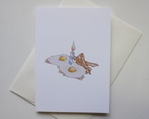 Fried Eggs and Bacon Birthday Card