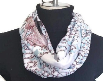 Pride and Prejudice book scarf - Jane Austen Infinity Scarf - Book Scarf - Literary Scarf - Gift For Writer- Gift For Reader- Infinity scarf