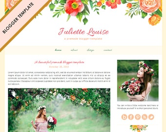 Blogger Template - Premade Blog Design - INSTANT DOWNLOAD - Juliette Louise Theme