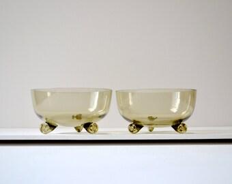 Handblown scroll footed glass dessert bowls
