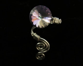 Ring Cuff Silver with Rainbow Crystal