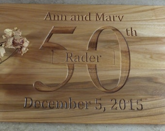 Personalized anniversary cutting board or charcuterie board. Beautiful anniversary gift. Lovely kitchen decor item.
