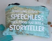 Travel Map Travel Quote Accessory Pouch - Travel Document Wallet - Travel Gifts - Quotes - Travel Bag - Travel Accessories - Travel Wallet