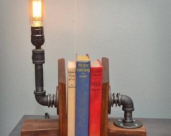 Bookend Industrial Pipe Light.  Unique gift idea!