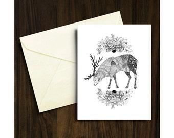 Stag Christmas Card A6