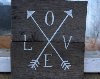 love sign,Hand painted love wiht arrows sign, natural wood and white paint